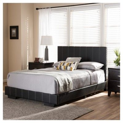 Atlas Modern And Contemporary Faux Leather Platform Bed - Full - Black - Baxton Studio