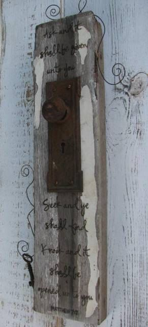"""Vintage Upcycled Sign Christian Bible Quote """"Knock and it shall be opened.."""""""