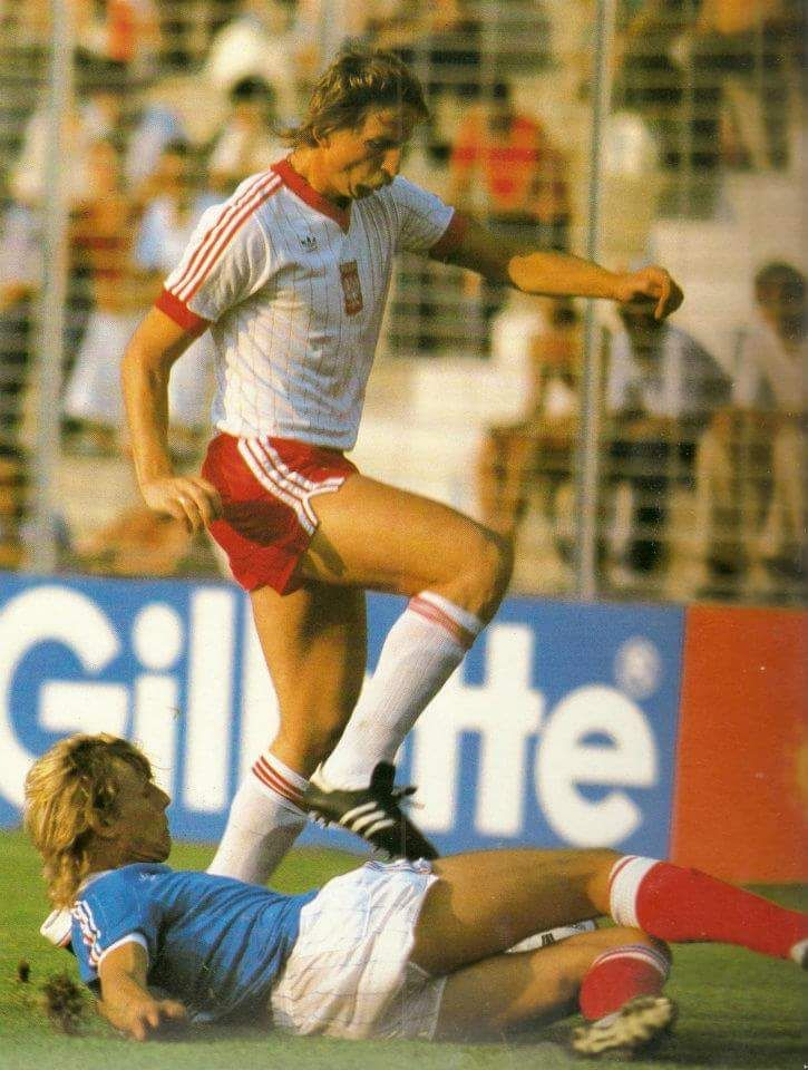 Andrzej Szarmach during Poland's 3-2 third place playoff win vs France in the 1982 World Cup