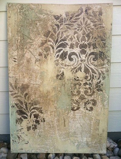 "Ashlie  Kindra of A Fabulous Finish - Faux and Decorative Finishes created this fab mixed media canvas art piece called ""Funky Love Story"". It was done with waxes, papers, plasters, acrylics and our Fabric Damask stencil!"