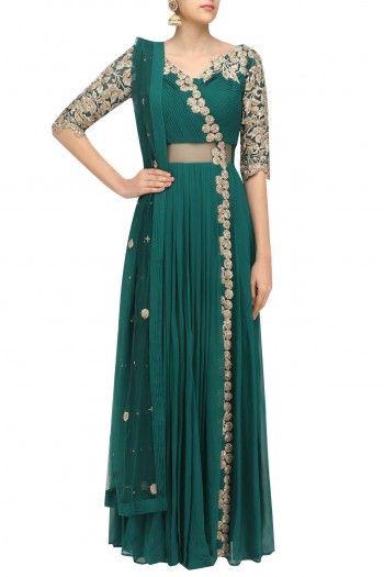 Reeti Arneja  Bottle Green Floral Zardozi Embroidered Anarkali Suit  #happyshopping #shopnow #ppus