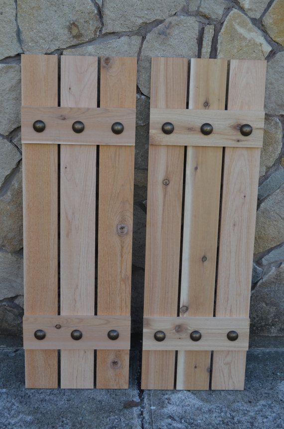 Non-Stained cedar shutters, exterior shutters, Board and Batten shutters, Rustic Shutters, Wooden Shutters,Pair,3 plank,custom build