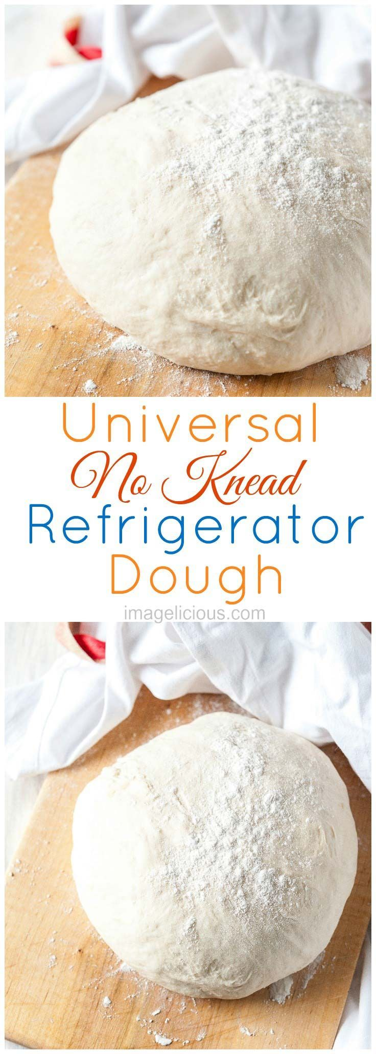 Universal No Knead Refrigerator Dough is very easy to make. You only need 5 minutes to mix all the ingredients with a spoon and then leave the dough in the fridge or overnight. It can be used for rolls, pizza, crescents, or even bagels. It's also Vegan | Imagelicious