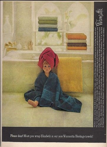 1963 Wamsutta Towels PATTY Playpal Doll Wrapped up vintage ad she's named Elizabeth