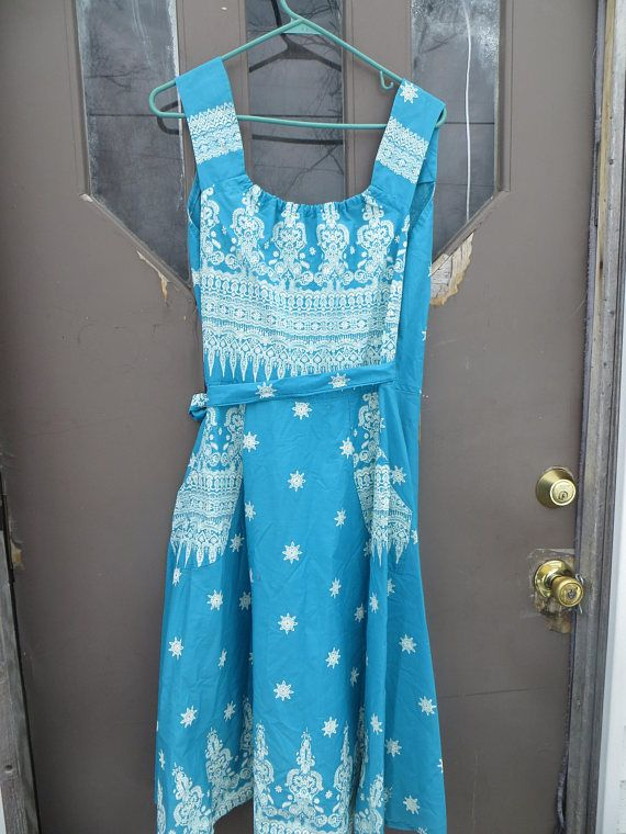 Fab 50s cotton  turquoise blue w white classical designs  and