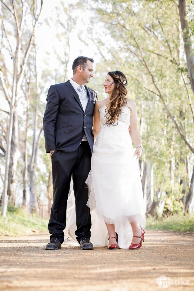 bride and groom, wedding, red shoes