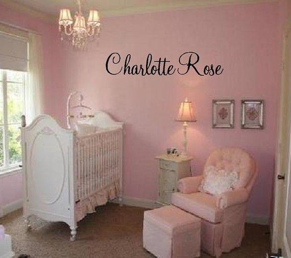 "Custom Name Vinyl Wall Decal Elegant and Fun Baby Nursery Girl Script Fancy Font 10""H X 36""W NM0012 on Etsy, $28.00"