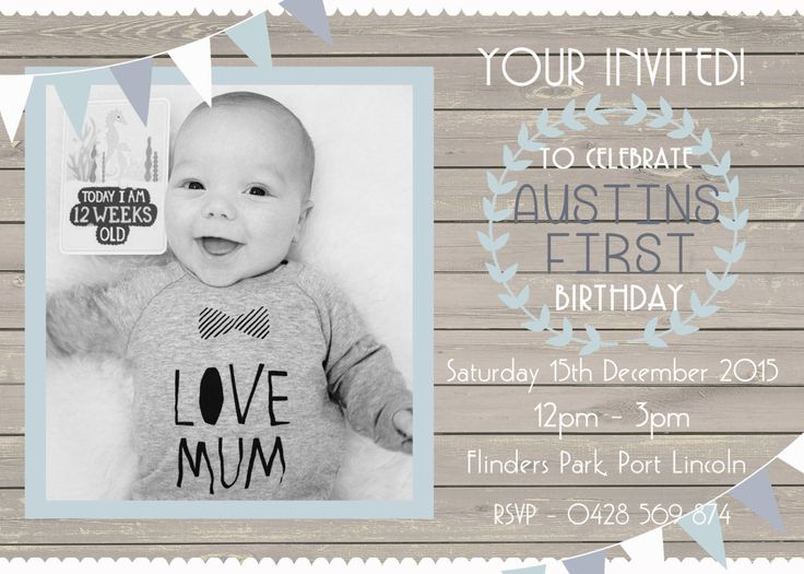 Baby Boy First Birthday Invitation, Personalised Digital Print, Print Yourself! by LittleFeetInvites on Etsy