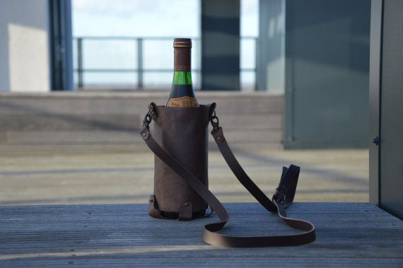 Leather Wine Tote by KaruHandmade on Etsy