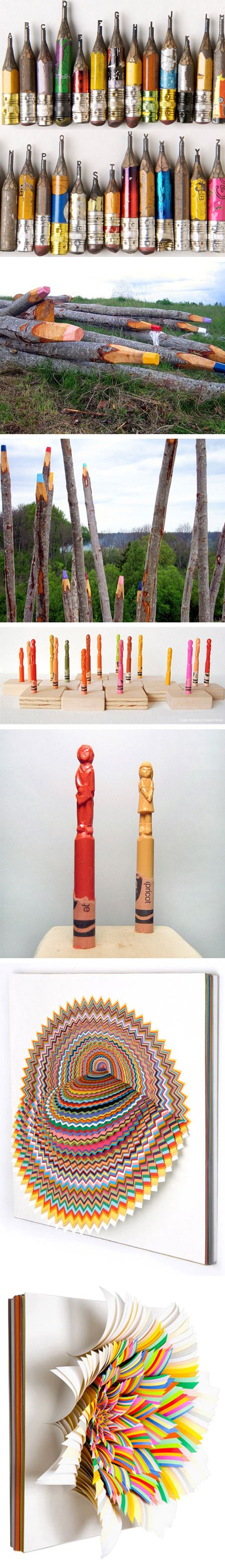 Dalton Ghetti (alphabet carved pencils), Jonna Pohjalainen (log pencil crayon installation), Diem Chau (carved crayons), and Jennifer Stark (cut-paper sculptures)