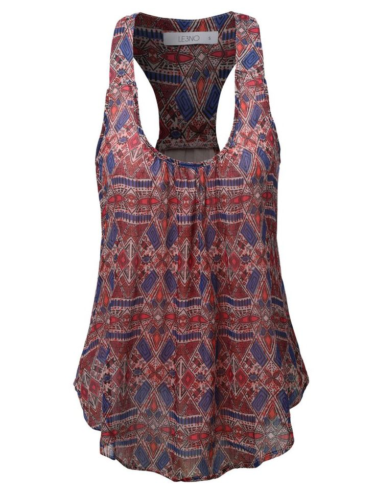 LE3NO Womens Double Layered Bohemian Racerback Tank Top