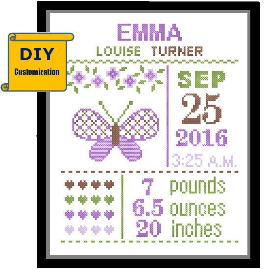 Instant Download DIY Pattern Cross Stitch Birth Announcement Butterfly Birth Record Cross Stitch Birth Sampler Cross Stitch Baby Girl Pink  CROSS STITCH PATTERN (Intermediate Level) (3 Instant Download PDF files - Patterns are in both Single page and multi-page enlarged format for easy reading)  -*-*-*-*-*-*-*-*-*-*-*-*-*-*-*-*-*-*-*-*-*-*-*-*-*-*-*-*-*-*-*-*-*-*-*-*-*-*-*-*-*-*- PLEASE NOTE : This is a Do-It-Yourself Customizable pattern. Please be sure before buying.  If you want me to…