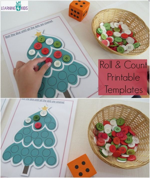 Roll and count printable templates - christmas theme counting and subitising activity