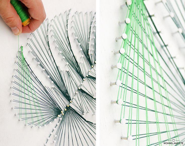 DIY Tropisches Fadenbild Hellgrüner Faden