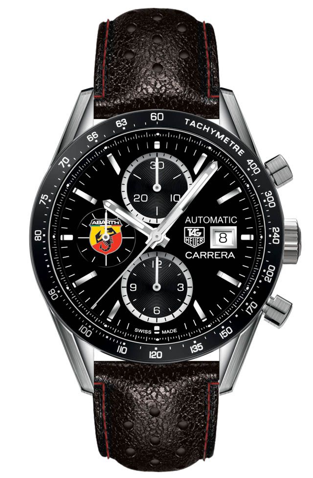 Abarth 595 'Competizione By TAG Heuer' Limited Edition Car Comes With Watch - see more about the car & watch in Ariel's writeup over at Forbes... Then see more TAG Heuer Carrera watches we've covered: http://www.ablogtowatch.com/tag/tag-heuer-carrera/ and more about Watches & Cars here: http://www.ablogtowatch.com/tag/watches-cars/