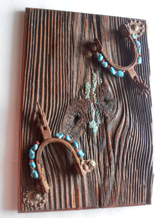 vintage Cowboy Spur and turquoise western wall by tjmccarty