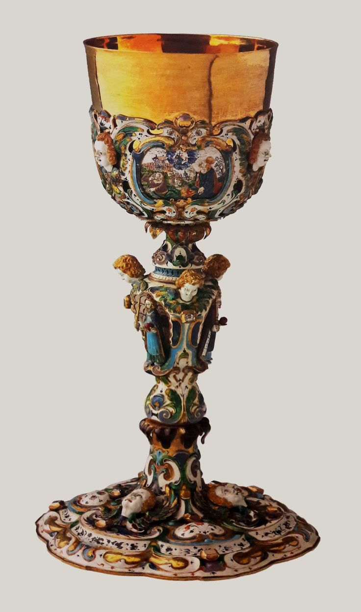 Golden chalice of Charles Ferdinand Vasa from the Płock Cathedral by Wojciech Szwarc, ca. 1645, Muzeum Diecezjalne w Płocku, decorated with figures of saints: Sigismund, Ferdinand and Charles Borromeo and medallions with the scenes of the Last Supper, the Christ in the Garden of Gethsemane and the Christ at Emmaus