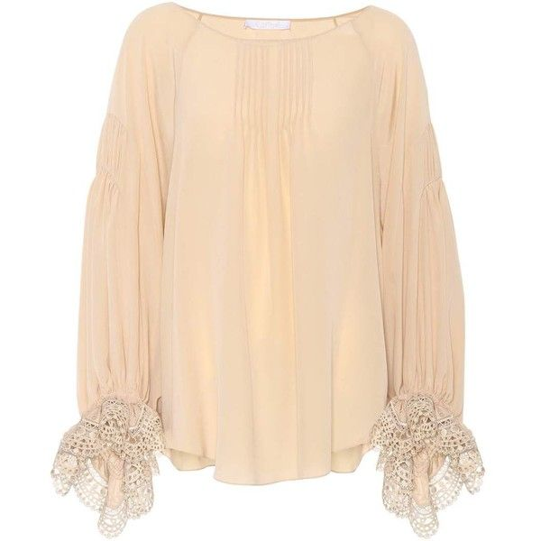 Chloé Silk Blouse ($1,895) ❤ liked on Polyvore featuring tops, blouses, pink, beige silk top, beige top, silk blouse, silk tops and pink silk top