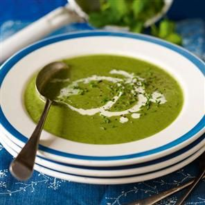 Spinach, watercress and pea soup recipe. Bowl your guests over with this bright green vegetarian soup recipe. It makes a delicate verdant starter or light lunch.