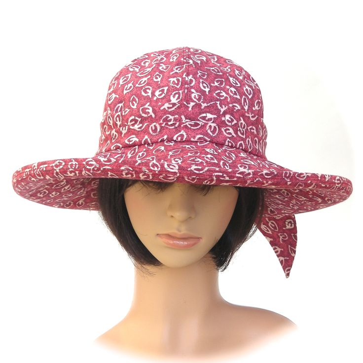 SUNHAT - 100% cotton, red & white leaf print - Rosehip Hat Studio