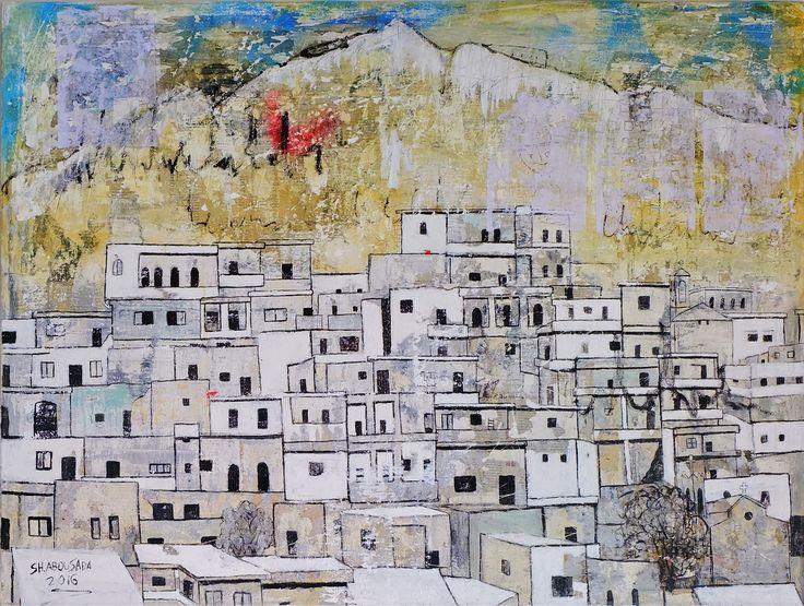 Maloula معلولا  Mixed media on canvas 90 x 120 cm 2016..