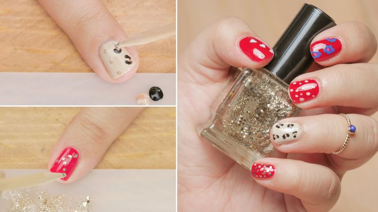 5 Nail Art Design Using Toothpick - Nail Art DIY - Beginners Series - Gl...