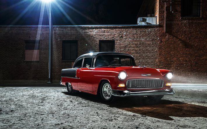 壁紙をダウンロードする 灯り, 夜, レトロ車, 1955年, シボレー