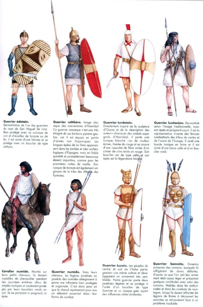 The army of Hannibal. Second Punic War. This illustration shows some of the warriors from the nations that Hannibal used in his campaign.