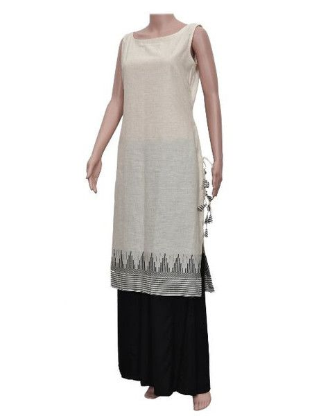 Off-White Cotton Kurta with Black Cotton Pants for Rs. 4000
