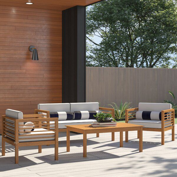 Daytona 11 Piece Sofa Seating Group With Cushions In 2020 Outdoor Sofa Sets Modern Outdoor Furniture Outdoor Seating Set