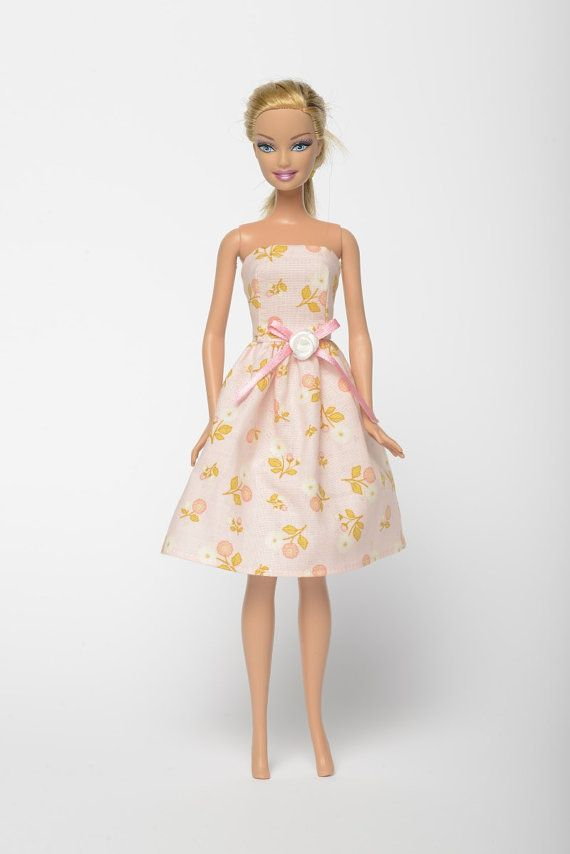 "Handmade Barbie doll clothes, Barbie dresses, Barbie outfit - ""Marguerite"" floral doll dress (235)"
