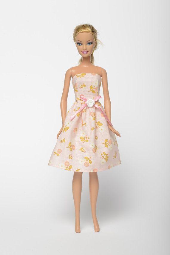 "Handmade Barbie doll clothes, Barbie dresses, Barbie outfit - ""Marguerite"" floral doll dress (235)"