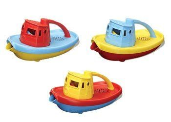 Embark on a cruise across the bathtub. Navigate the wading pool and splash around in the occasional mud puddle. This colourful craft floats great, and has a wide spout to scoop and pour water. GREEN TOYS Tugboat  #greentoys #water #bath #waterplay #boat #toys2learn #preschool #toddlers #Australia