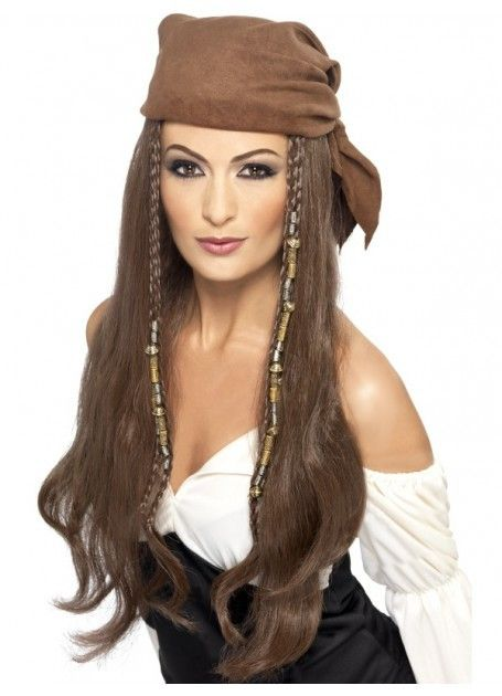 Pirate Costume Wig with Beads, Charms and Bandana. www.thewigoutlet.com.au The…