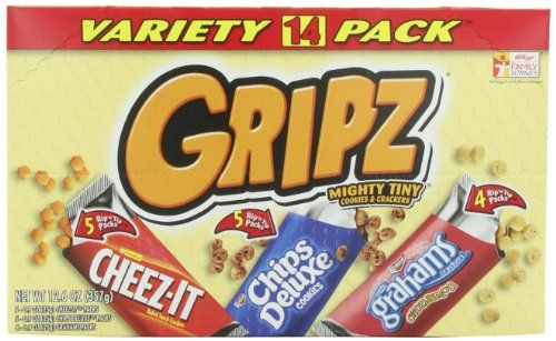 Gripz Variety Pack (Cheez-It, Chips Deluxe, Grahams Cinnamon), 12.6 Ounce Gripz http://www.amazon.com/dp/B00BV283BO/ref=cm_sw_r_pi_dp_XVg2tb02W930VHGD