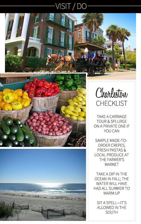 Fun things to do in Charleston. Be SURE to do the last one the most :)