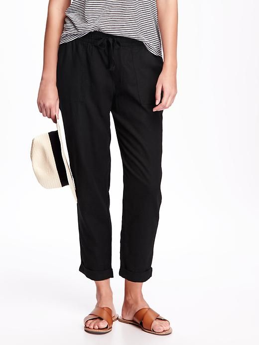 Linen-Blend Cropped Pants for Women