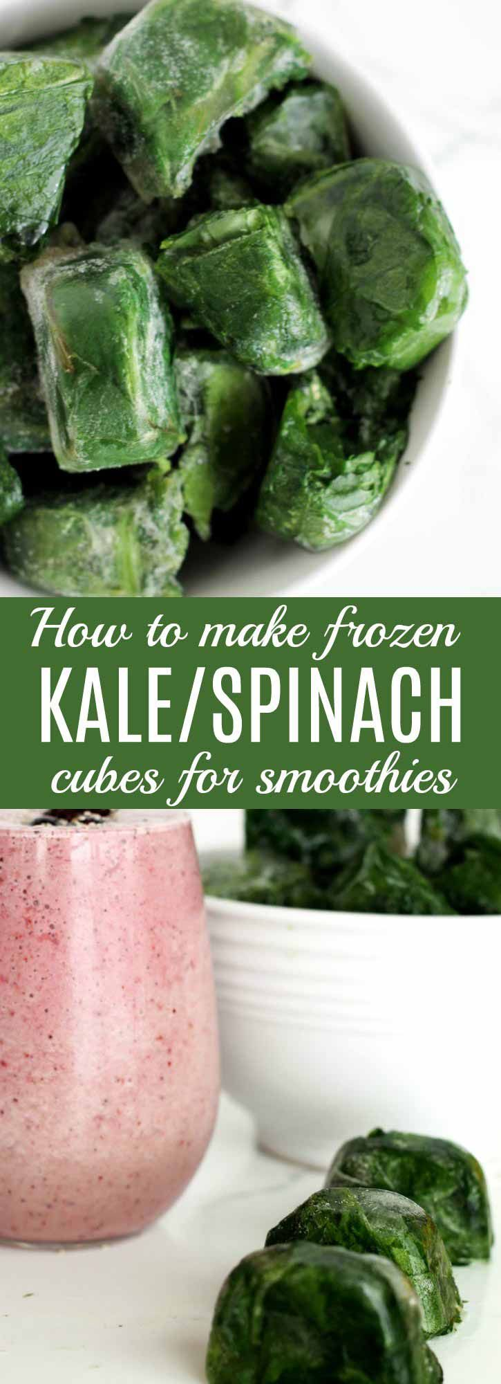 How to Make Frozen Kale & Spinach Cubes: These kale & spinach cubes are easy to make & easy on the budget. A great way to always have healthy smoothie ingredients on hand.   thenourishedfamily.com