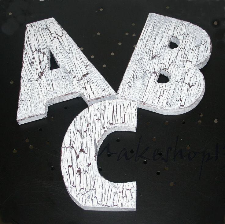 Holzbuchstaben Holz Buchstaben A - Z Vintage Weiß Schrift Shabby Deko 20cm NEU
