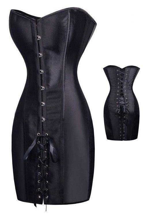 Specifications Leather Lingerie Type Leather corset Size Type Plus Package Each Piece In One PP Bag Size S, M, L, XL, XXL Color Black Detail Black Elegant Ribbon Corset Dress is the perfect Corset to
