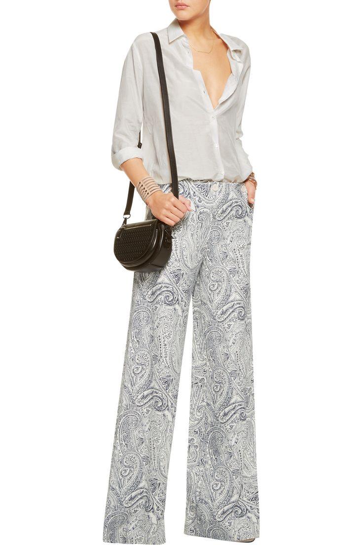 EtroPrinted cotton, silk and linen-blend wide-leg pantsfront