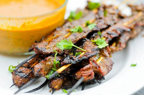 Thai beef satay: Wow, this was so good. I'll definitely be making it again the next time we fire up the grill. I did it in the oven this time, under the broiler, because it's winter.