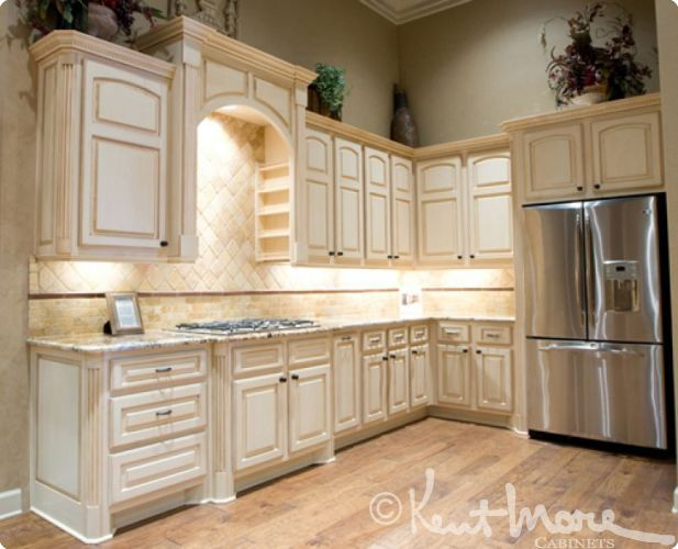awesome How To Stain Kitchen Cabinets White #5: Custom Kitchen Cabinets by Kent Moore Cabinets. Maple Wood with Frosty White  Stain with Brown