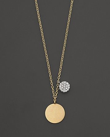 Meira T 14 Kt. Yellow Gold/Diamond Disc Necklace | Bloomingdale's