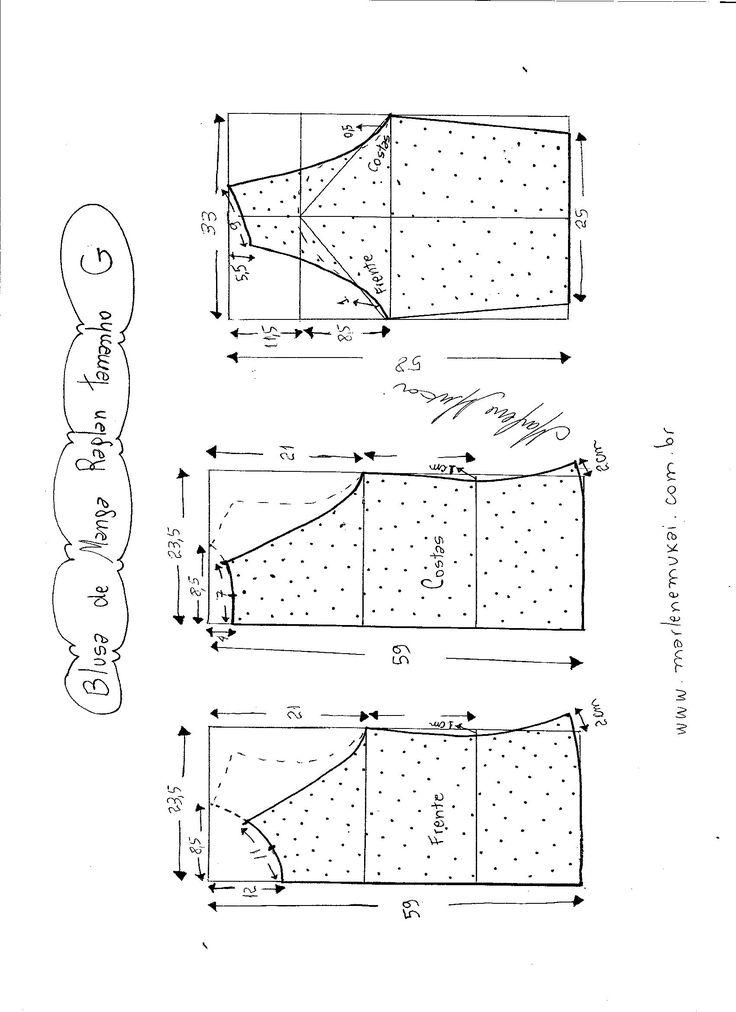 Esquema de modelagem de blusa de malha de manga raglan tamanho G.                                                                                                                                                     Mais
