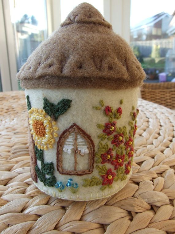 English country cottage felt pincushion with embroidered flowers and beading