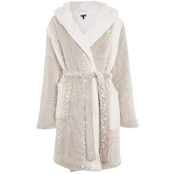 Topshop Snow Leopard Robe (€36) ❤ liked on Polyvore featuring intimates, robes, mink, leopard print bathrobe, dressing gown, wrap robe, bath robes and leopard bathrobe