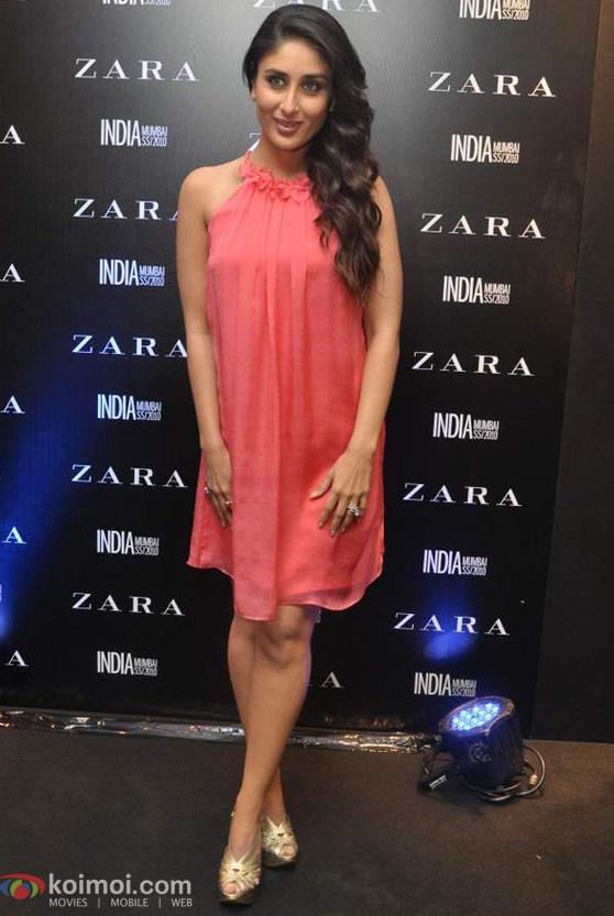 Peach halter neck dress. Kareena Kapoor.