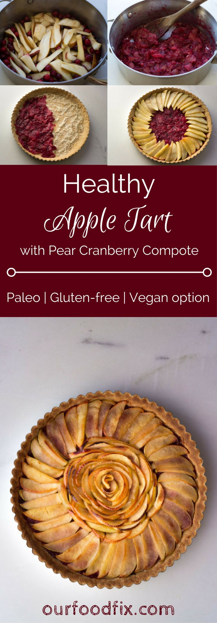 Part traditional French tart, part rustic interpretation, this healthy dessert is full of holiday flavor and color. Paleo Recipes   Gluten free recipes   Dairy free recipes   Holiday recipes   Holiday desserts   Christmas recipes   Christmas desserts   Party food   Thanksgiving desserts   Dessert recipes   Treats and sweets   Simple recipes   Pies and tarts   Pie recipes   Apple tart   Vegan recipes  Vegan desserts   Vegan treats
