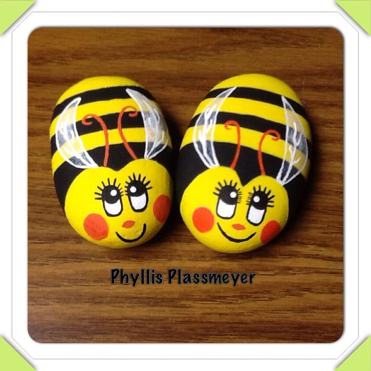 Bumblebees - Painted rocks by Phyllis Plassmeyer